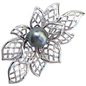 真珠:パール:ブローチ:タヒチ:黒蝶真珠:ブラックパール:直径9mm:グリーン系:SVシルバー:ブローチ