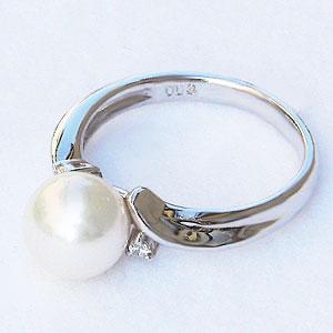 パール:真珠:リング:ダイヤモンド0.03ctあこや本真珠:ホワイト系:8mm:PT900:プラチナ:指