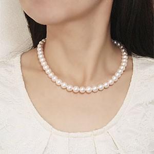タイムセール限定 あこや本真珠 ホワイトピンク系 大珠 9-9.5mm パール ネックレス 全長約42cm 真珠