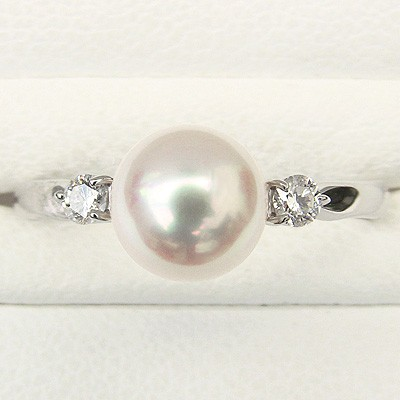あこや本真珠 7.0mm珠 指輪 天然ダイヤモンド 2石 0.10ct Pt900 プラチナ パール リング