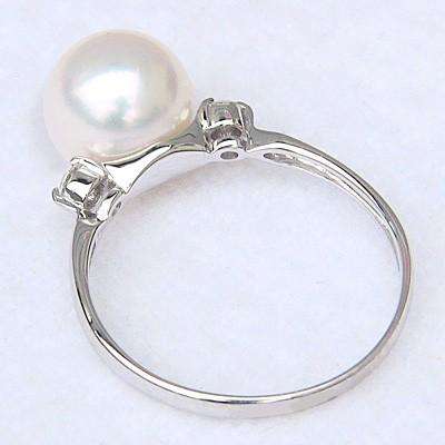 あこや本真珠 8mm珠 指輪 天然ダイヤモンド 2石 0.10ct Pt900 プラチナ パール リング