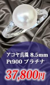 アコヤ真珠8.5mmダイヤモンドPt900プラチナリング