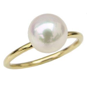 パールリング 真珠指輪 K18 ゴールド あこや本真珠 8ミリ K18 ゴールド ご奉仕価格