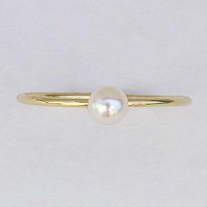ベビーパール リング シンプル 真珠指輪 K18 ゴールド あこや本真珠 3.5-4ミリ K18WG ホワイトゴールド