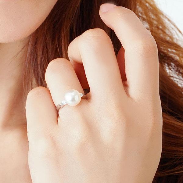 オーロラ 花珠真珠 リング パール 指輪 あこや真珠パール プラチナPT900 リング ダイヤモンド