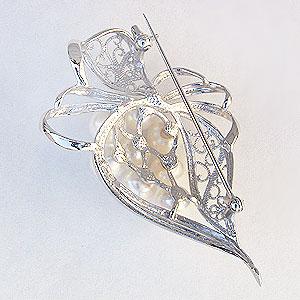 真珠 パール ブローチ あこや本真珠 6.5mm 7mm パールブローチ シルバー 卒入学用