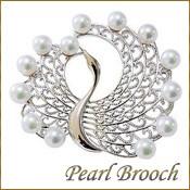 パールブローチ 真珠ブローチ 鶴モチーフ ツルブローチ あこや本真珠 5.5mm