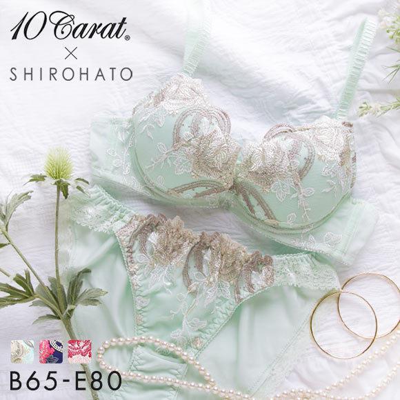 (テンキャラット)10carat×白鳩コラボ エレガント刺繍ブラショーツセット