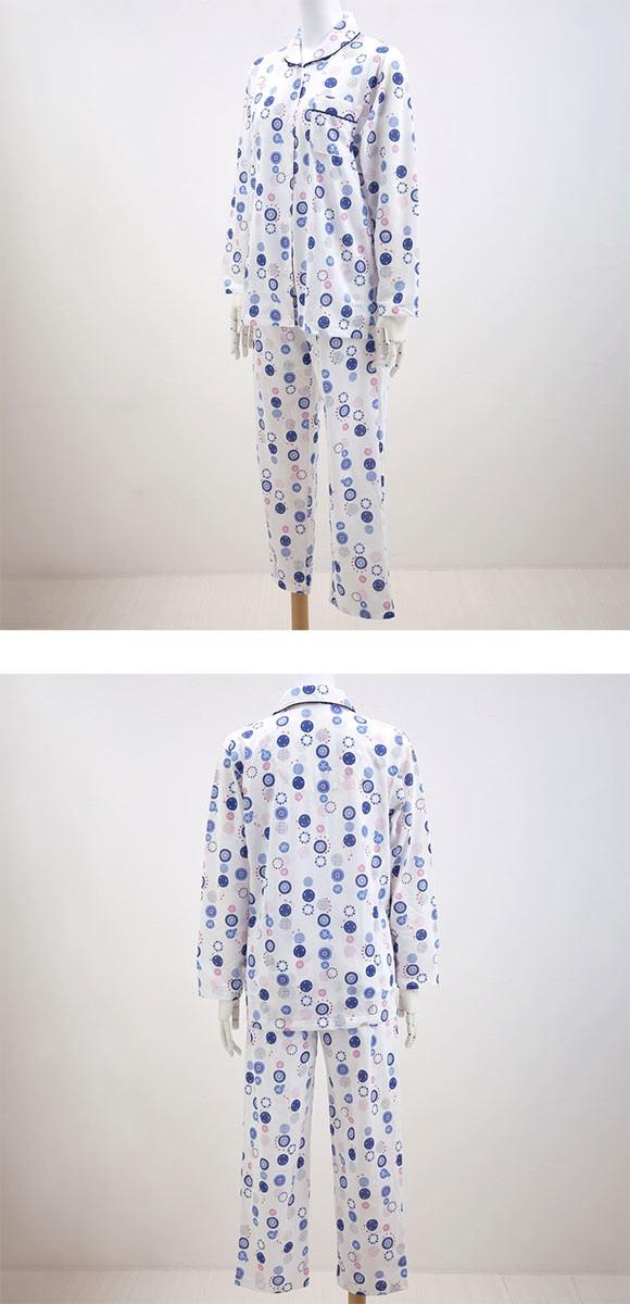 洛北友禅 日本製 長袖 シャツ パジャマ ロングパンツ 上下セット レディース S M L LL 3L 4L 綿100% 傘花柄 日本の匠