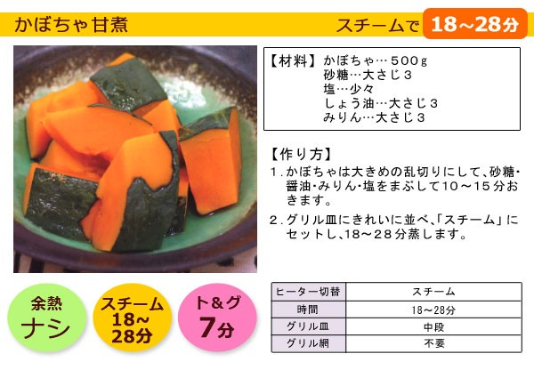 グランシェフで調理!かぼちゃ甘煮のレシピ