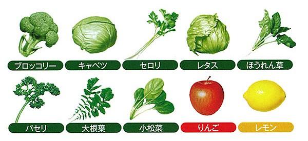 8種類の野菜と2種類の果物