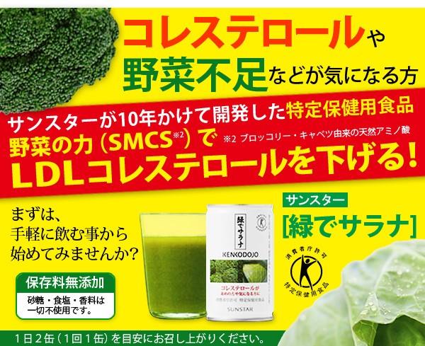 サンスターが10年かけて開発したLDLコレステロールを下げるトクホ商品「緑でサラナ」