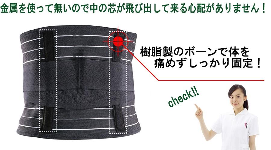 腰痛ベルトの後ろの補強