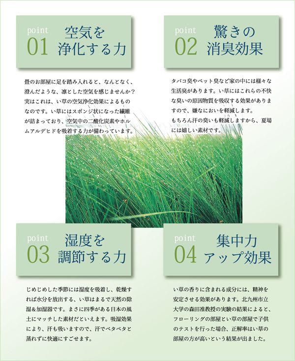■い草には空気の自然浄化作用、湿度の調節作用などがあります。また汚れにくく、使用するうちに黄金色に変化し味が 出ます。