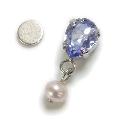 マスクピアス 淡水パール & スワロフスキー マグネットピアス ペアシェイプ しずく ドロップ マスクチャーム マスクアクセサリー 真珠 おしゃれ かわいい