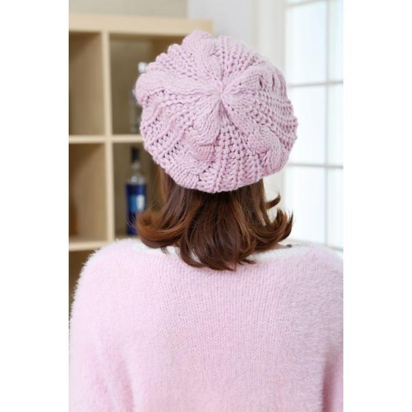 レディース 帽子 ニットベレー帽 ニット帽 ベレー帽 ゆったり 秋 冬 ふわふわ 毛糸 暖か ざっくり 編み ベーシック mz2288|shopzero|16