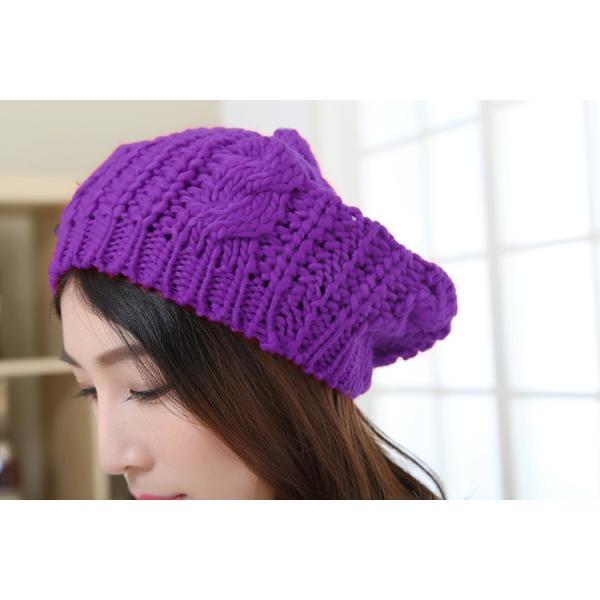 レディース 帽子 ニットベレー帽 ニット帽 ベレー帽 ゆったり 秋 冬 ふわふわ 毛糸 暖か ざっくり 編み ベーシック mz2288|shopzero|23