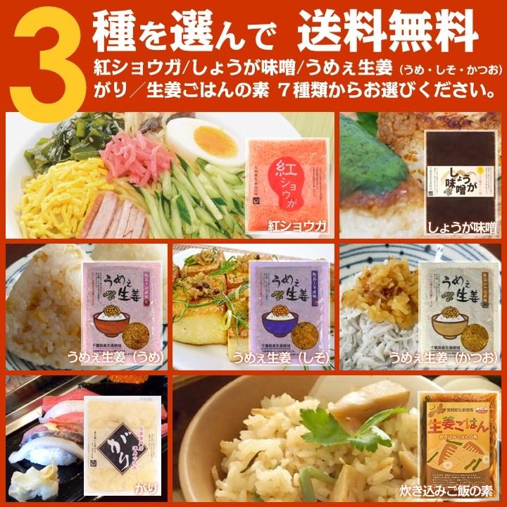 3種を選んでクリックポスト送料無料1080円!うめぇ生姜(かつお風味・梅風味・しそ風味)生姜炊き込みご飯の素、しょうが味噌からお好きな3点お選び下さい