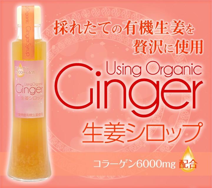 採れたての有機生姜を贅沢に使用したオーガニックジンジャーシロップ生姜シロップ