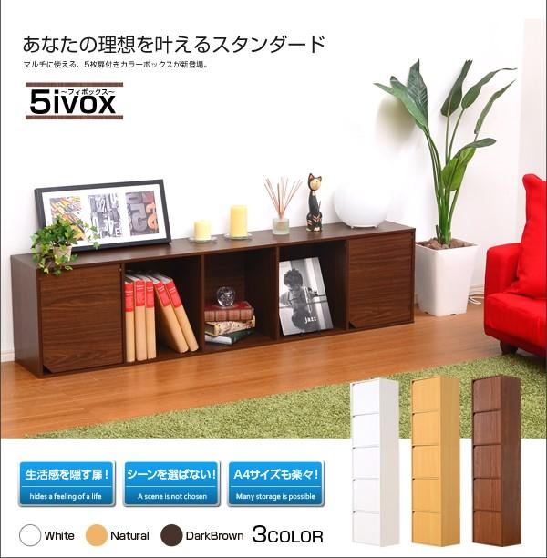 A4サイズ収納OK!扉付きカラーボックス【-5ivox-フィボックス】