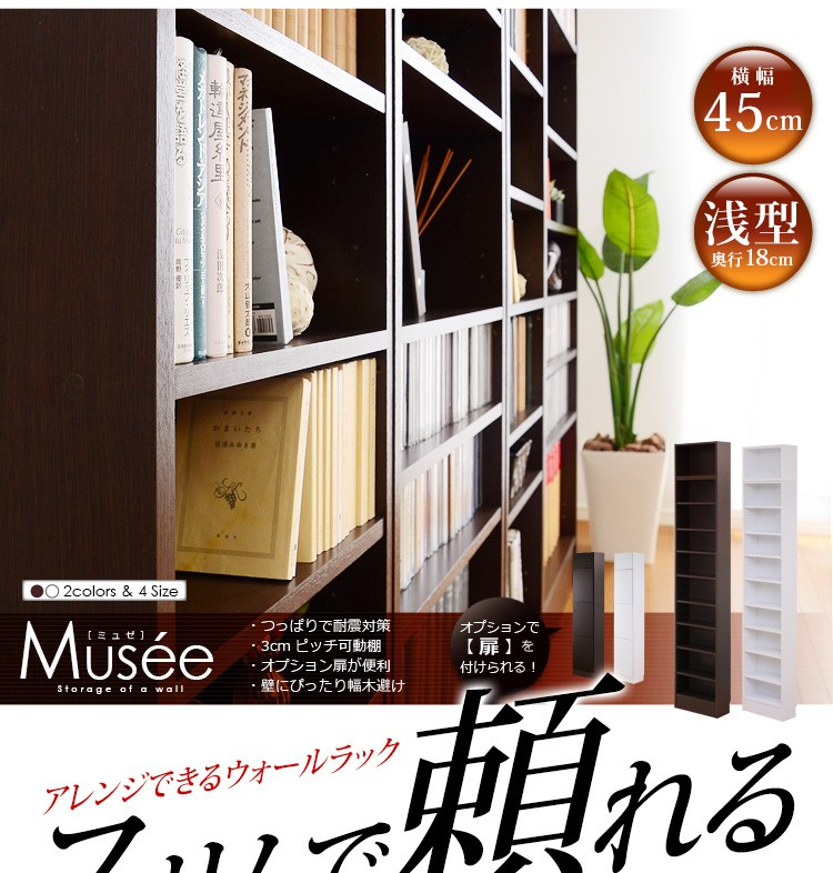 ウォールラック-幅45・浅型タイプ-【Musee-ミュゼ-】(天井つっぱり本棚・壁面収納)