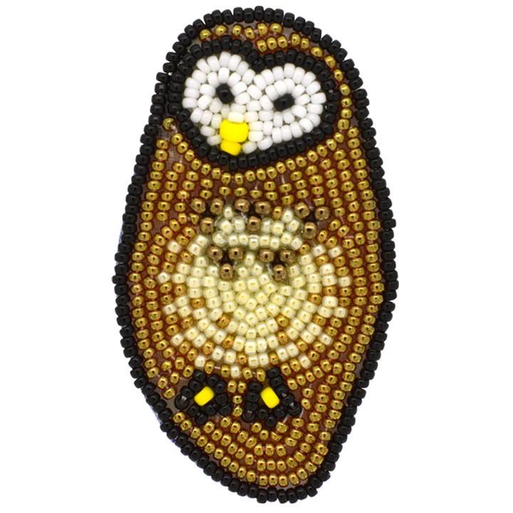 MIYUKI ビーズ刺繍 ブローチキット ねぼすけフクロウ BFK-580