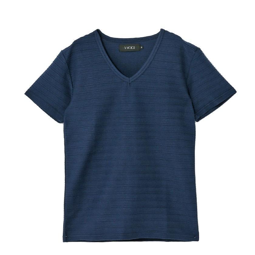 """半袖Tシャツ メンズ Vネック """"VICCI【ビッチ】タックジャガードVネック半袖Tシャツ/全6色""""無地 M L XL ストレッチ 白 黒 ネイビー ピンク ネイビー グレー silverbulletxfuga 24"""