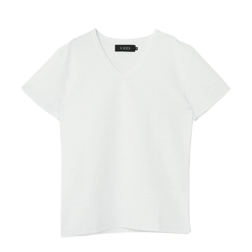 """半袖Tシャツ メンズ Vネック """"VICCI【ビッチ】タックジャガードVネック半袖Tシャツ/全6色""""無地 M L XL ストレッチ 白 黒 ネイビー ピンク ネイビー グレー silverbulletxfuga 21"""