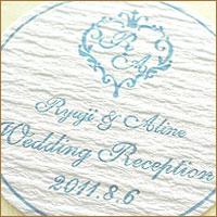 結婚式 手作り 招待状に オリジナル金色・銀色シール 特色印刷