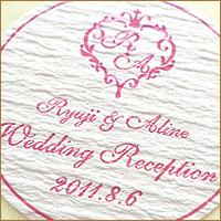 結婚式 手作り 招待状に オリジナル金色・銀色シール エンボス