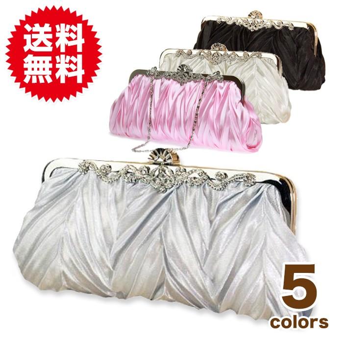 5色サテン・プリーツパーティーバッグ
