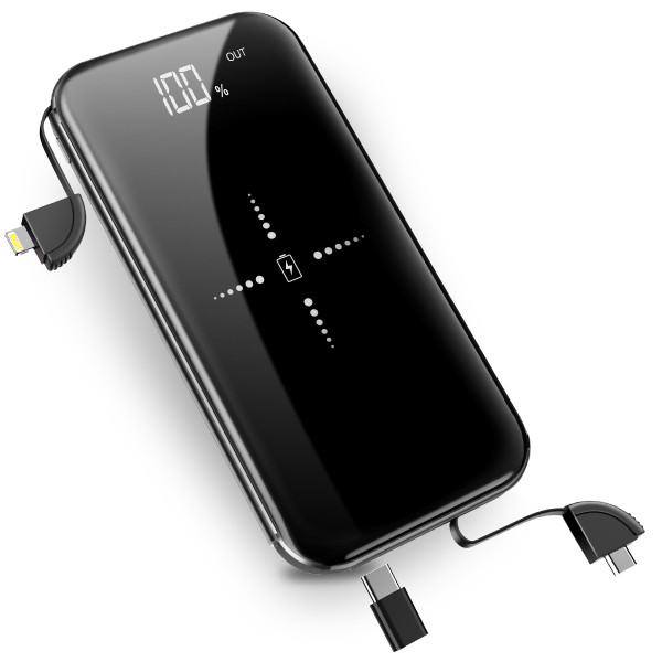 【PSE認証済】 モバイルバッテリー 大容量 軽量 薄型 10000mAh Qi ケーブル内蔵 急速充電器 ワイヤレス  LED残量表示 iPhone Android 充電器 送料無料|skyunet|14