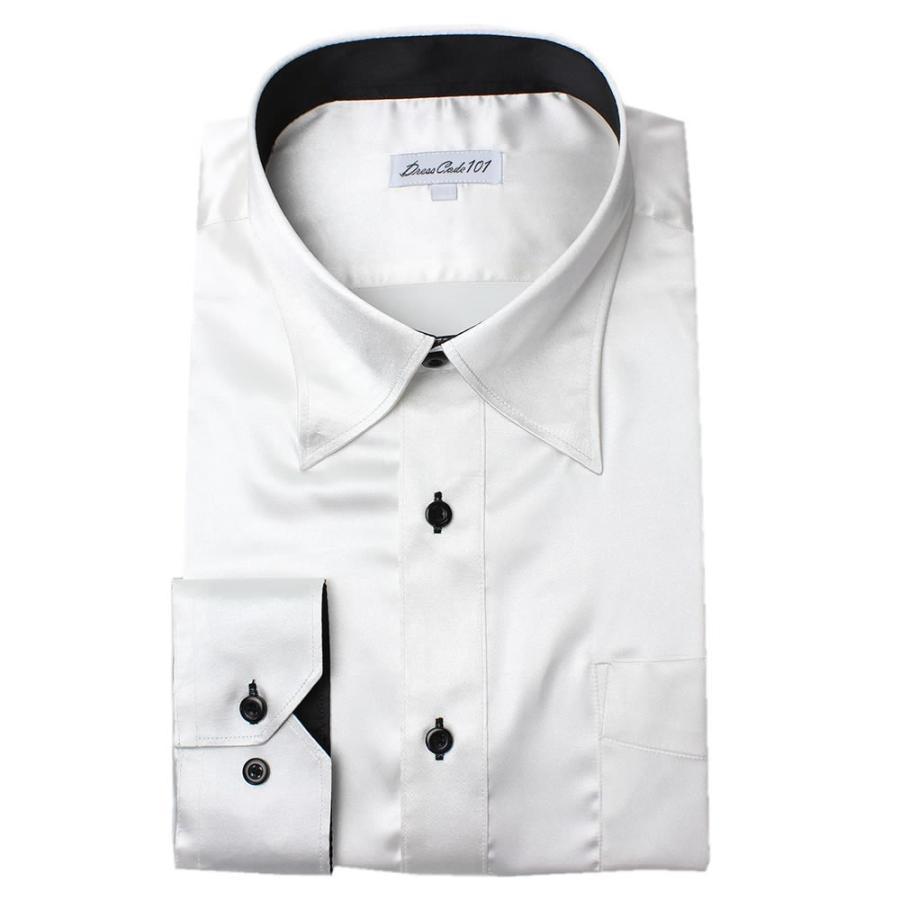 8カラーから選べる サテンシャツ メンズ 紳士用 ワイシャツ ドレスシャツ スリム Yシャツ 白 ホワイト 赤 レッド グレー ブラック 黒|smartbiz|16