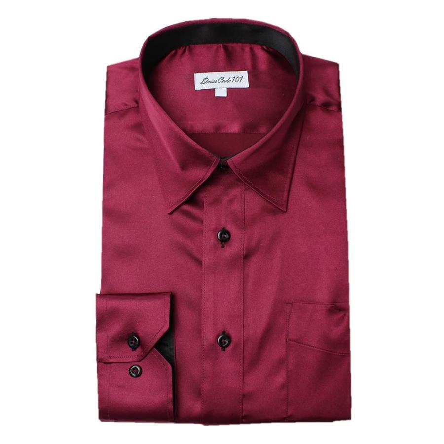 8カラーから選べる サテンシャツ メンズ 紳士用 ワイシャツ ドレスシャツ スリム Yシャツ 白 ホワイト 赤 レッド グレー ブラック 黒|smartbiz|19