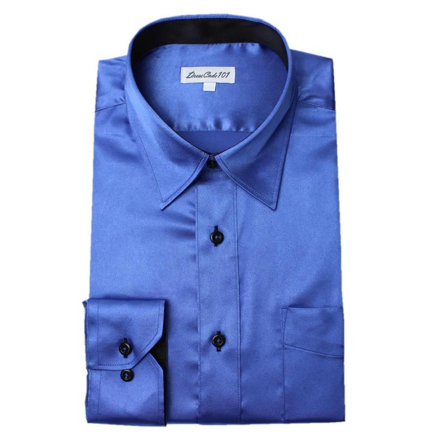 8カラーから選べる サテンシャツ メンズ 紳士用 ワイシャツ ドレスシャツ スリム Yシャツ 白 ホワイト 赤 レッド グレー ブラック 黒|smartbiz|21