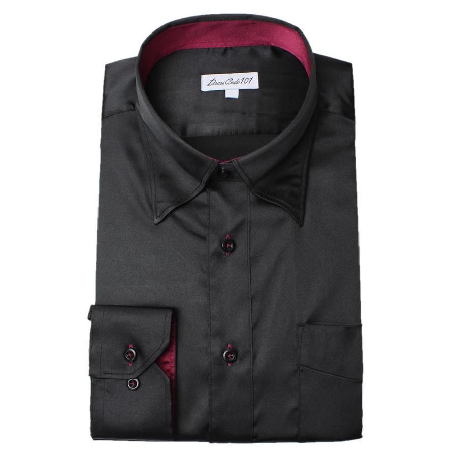 8カラーから選べる サテンシャツ メンズ 紳士用 ワイシャツ ドレスシャツ スリム Yシャツ 白 ホワイト 赤 レッド グレー ブラック 黒|smartbiz|23