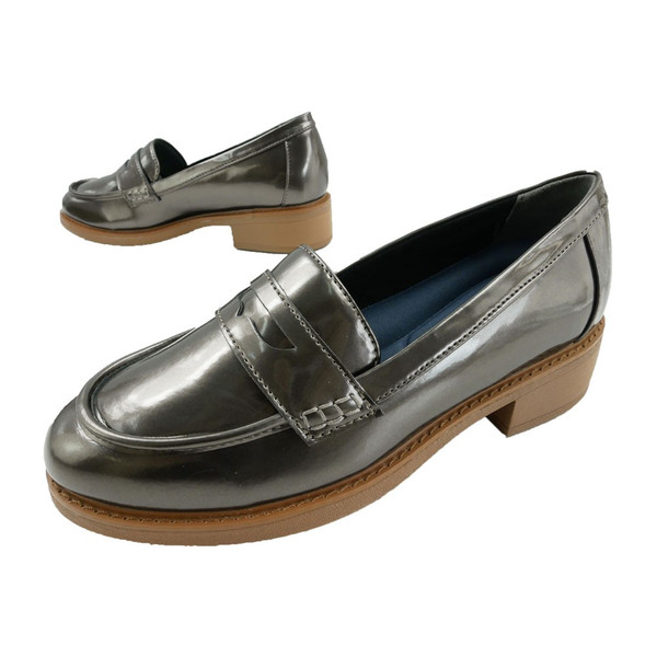 オールデイウォーク ALL DAY Walk ローファー 靴 簡易防水 歩きやすい 痛くない レディース ALD2350 メタリック 太ヒール チャンキーヒール ガンメタ グレー|smw|05