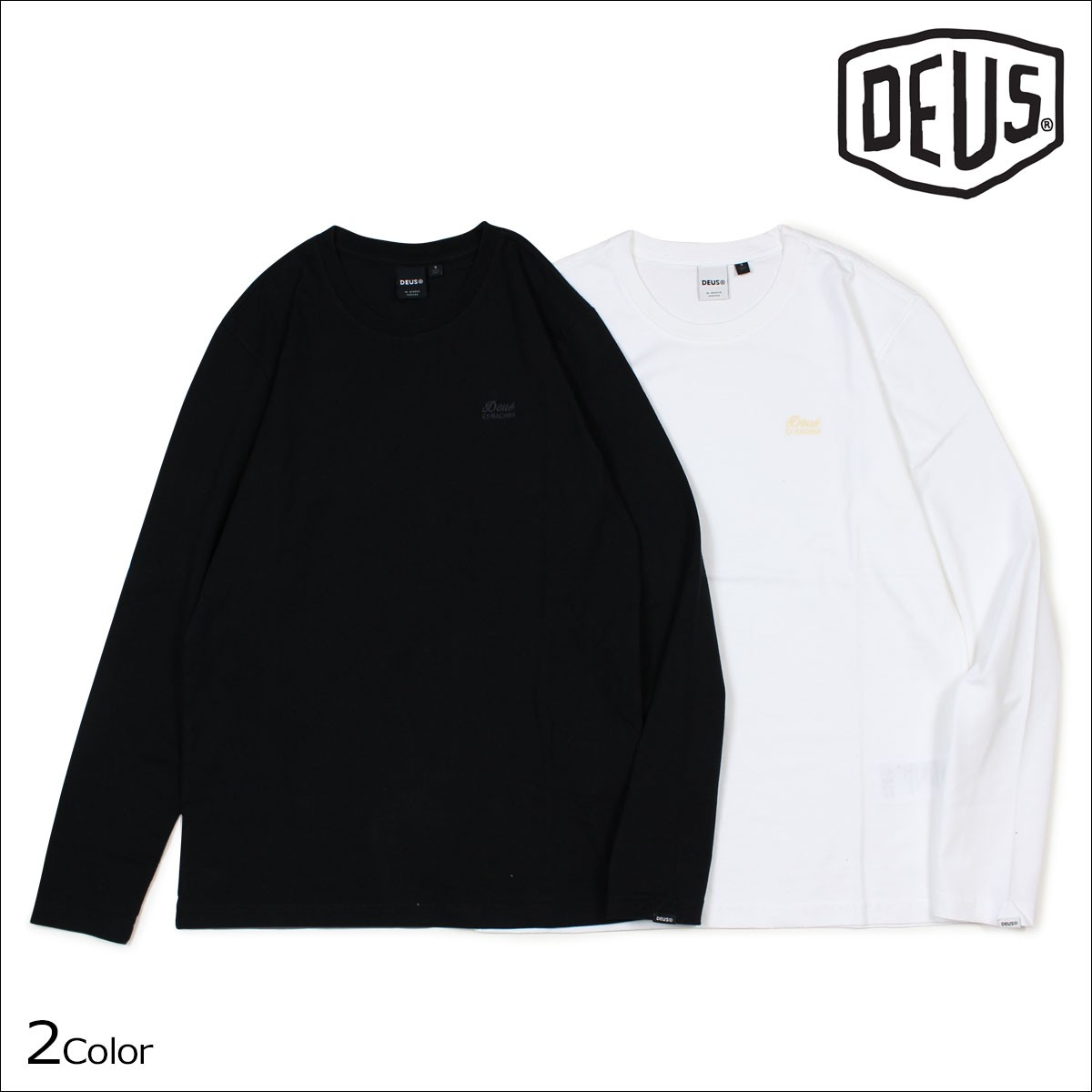 デウスエクスマキナ Deus ex Machina Tシャツ 長袖 メンズ カットソー ロンティー ロンT STANDARD LS EMBROIDERED TEE ブラック ホワイト