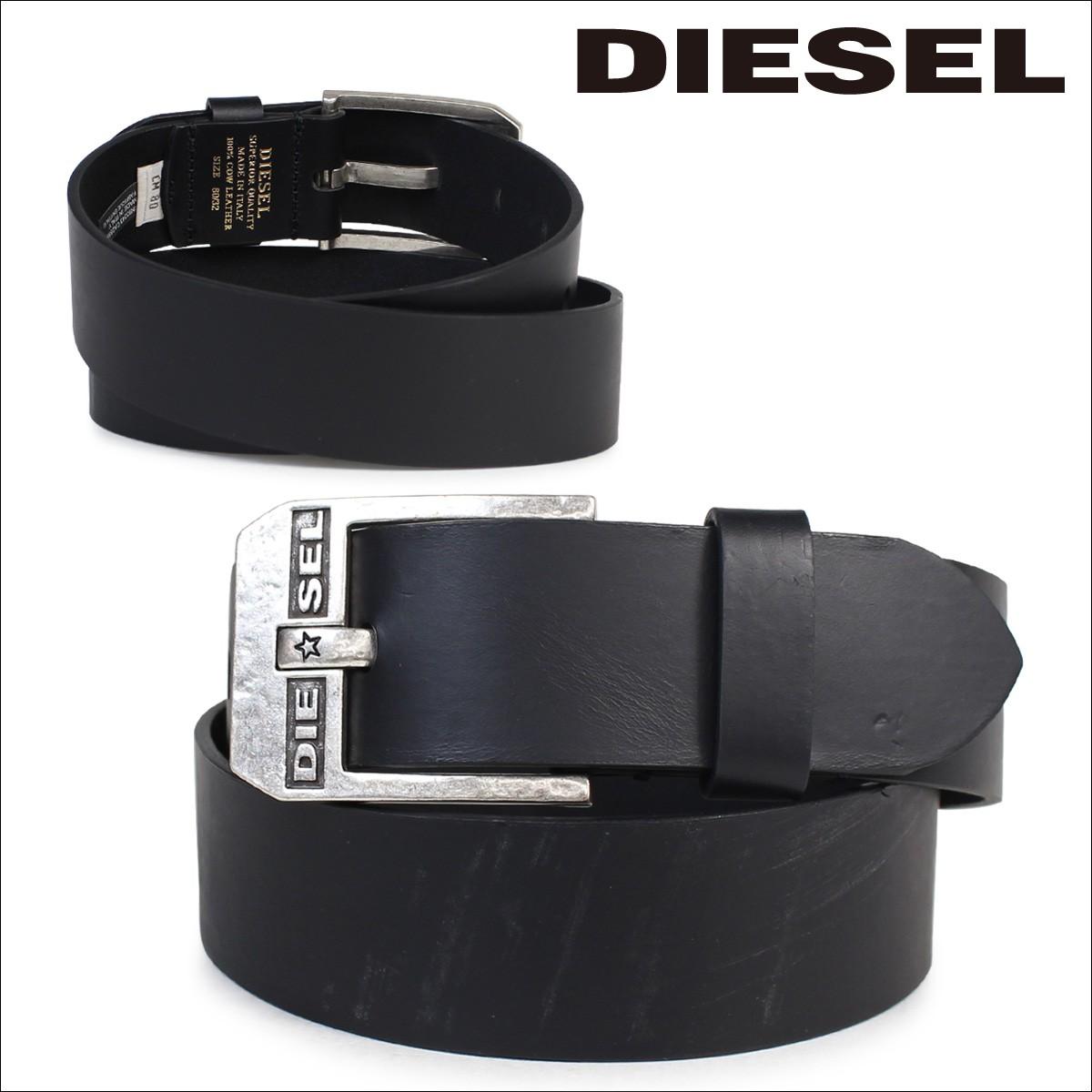 ディーゼル ベルト DIESEL メンズ レザーベルト 本革 牛革 ロゴ入り カジュアル X04673 P1345 ブラック イタリア製