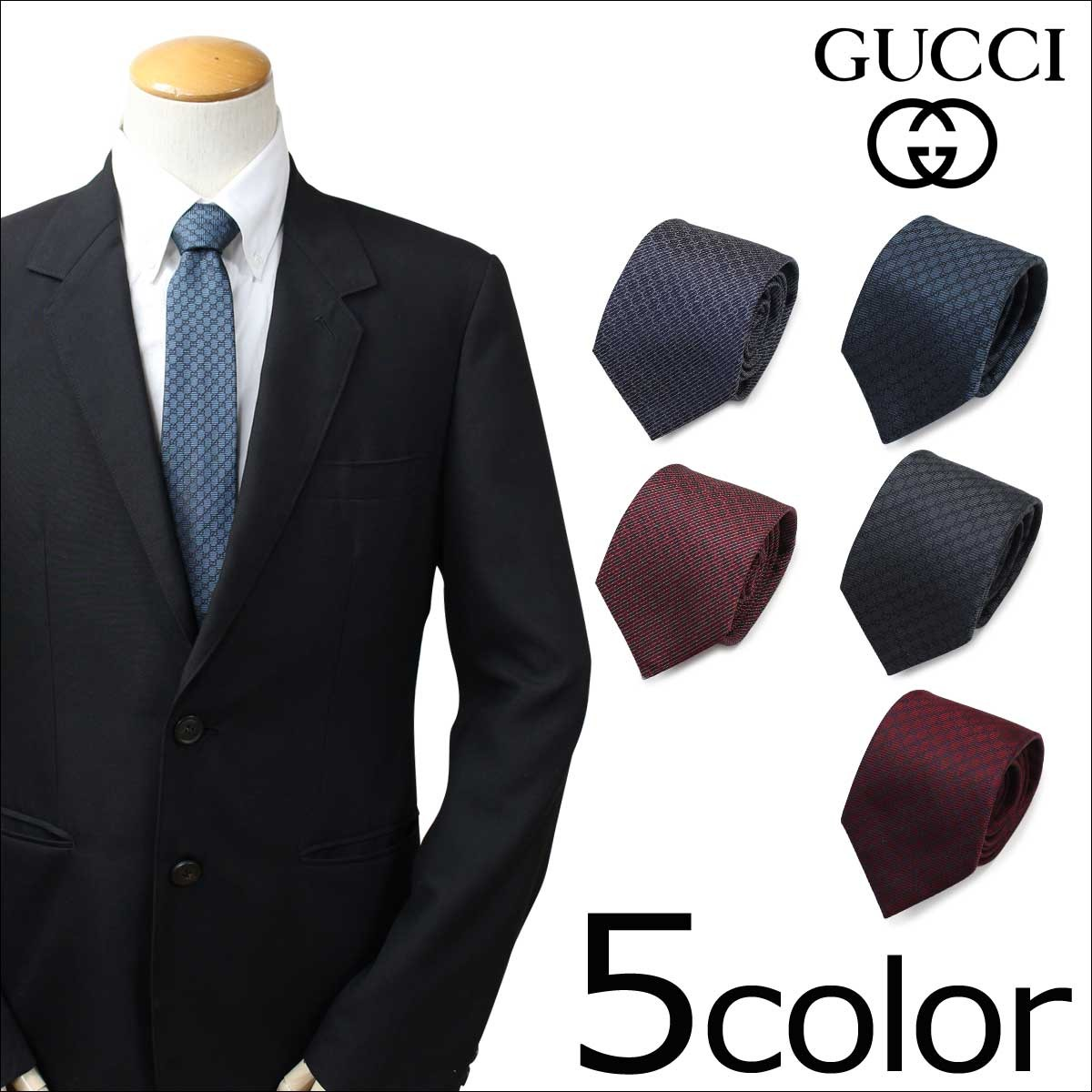 グッチ GUCCI ネクタイ シルク メンズ イタリア製 ビジネス 結婚式 TIE 5カラー [1/16 追加入荷]