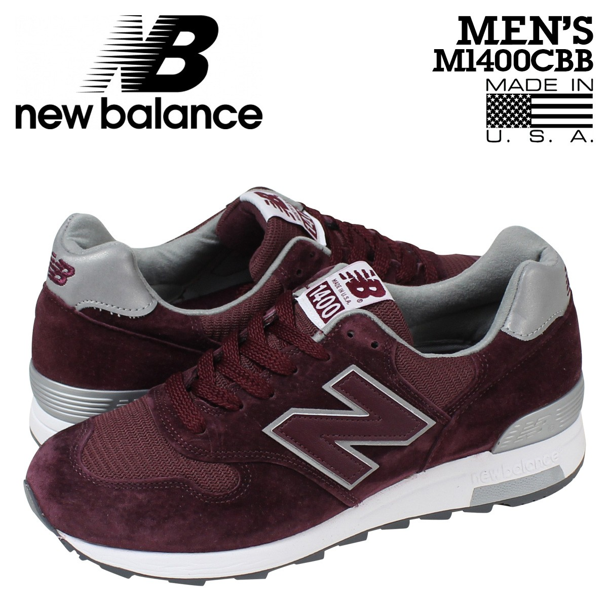 ニューバランス 1400 メンズ new balance スニーカー M1400CBB Dワイズ MADE IN USA 靴 バーガンディー