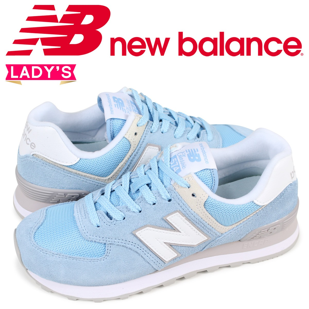 new balance WL574ESB ニューバランス 574 レディース スニーカー Bワイズ ブルー [2/2 新入荷] [182]