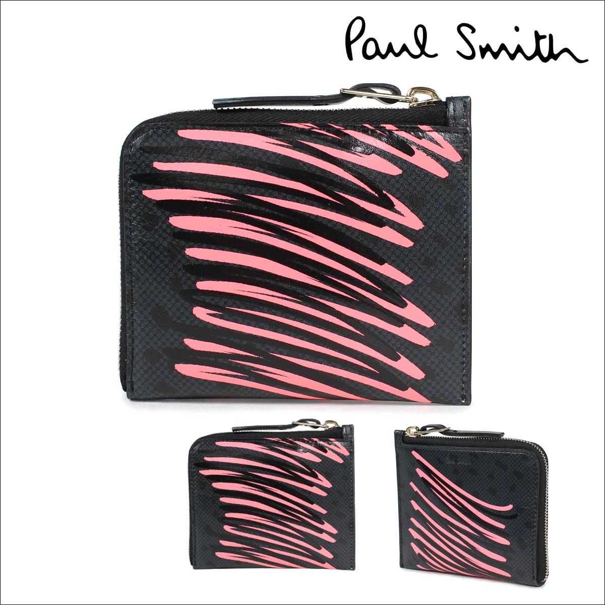 ポールスミス 財布 レディース 二つ折り Paul Smith 本革 ラウンドファスナー SMART WALLET ブラック 4539