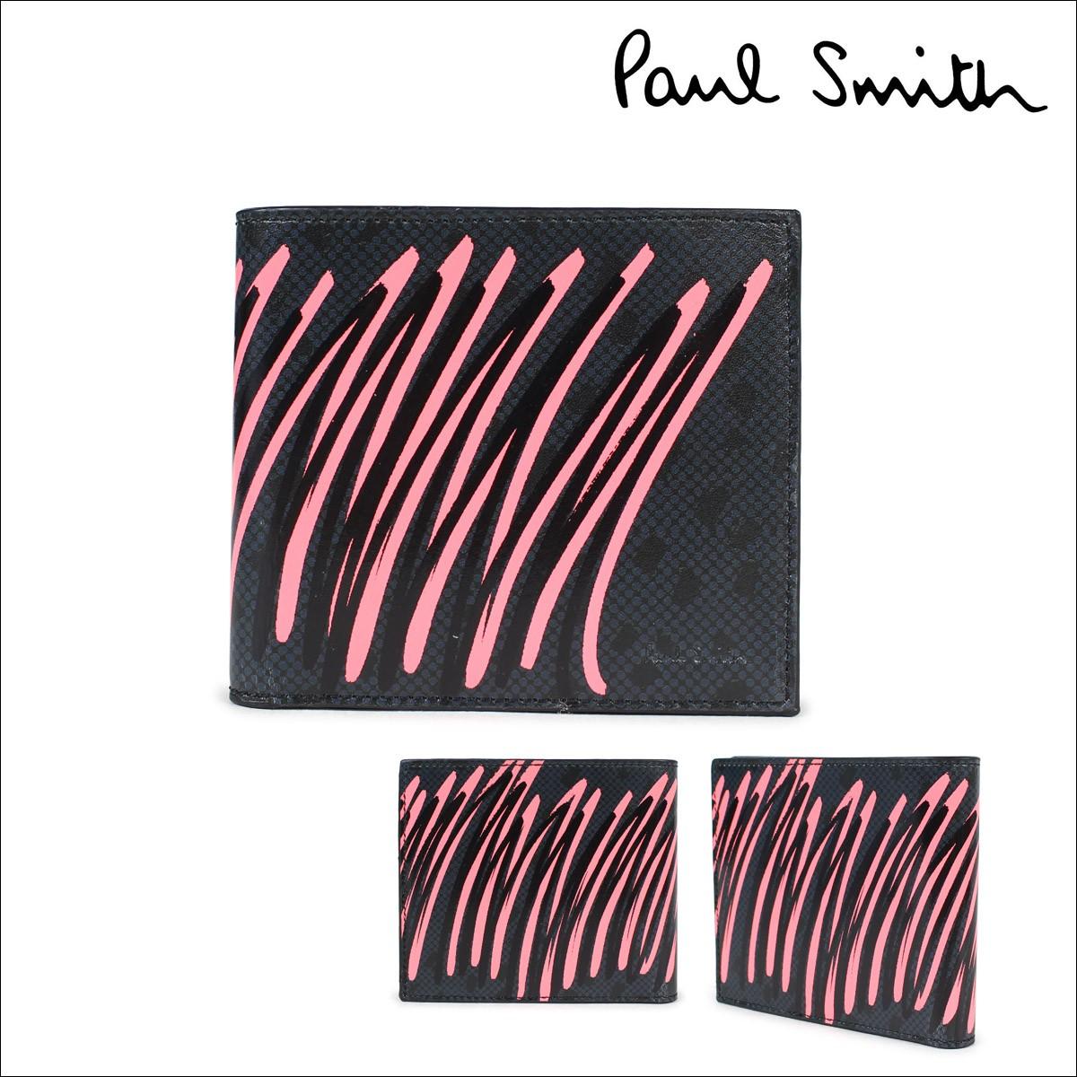 ポールスミス 財布 レディース 二つ折り Paul Smith 本革 ラウンドファスナー SMART WALLET ブラック 4832