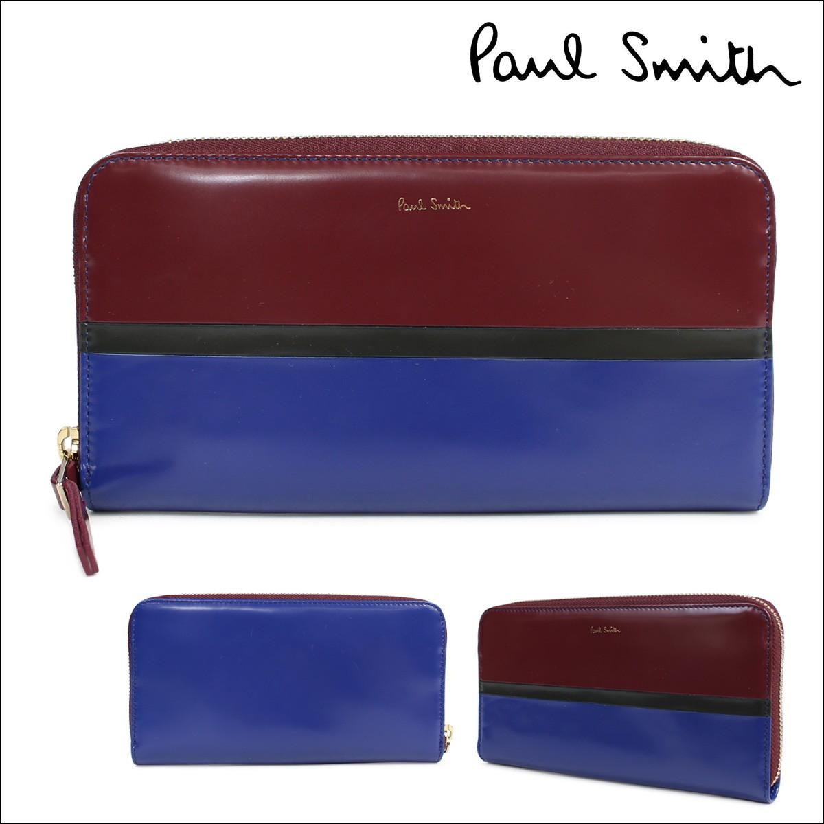 ポールスミス 財布 レディース 長財布 Paul Smith 本革 ラウンドファスナー WOMEN WALLET LRG ZIP MRKSTR WNXA 4609 W740 ワインレッド ブルー