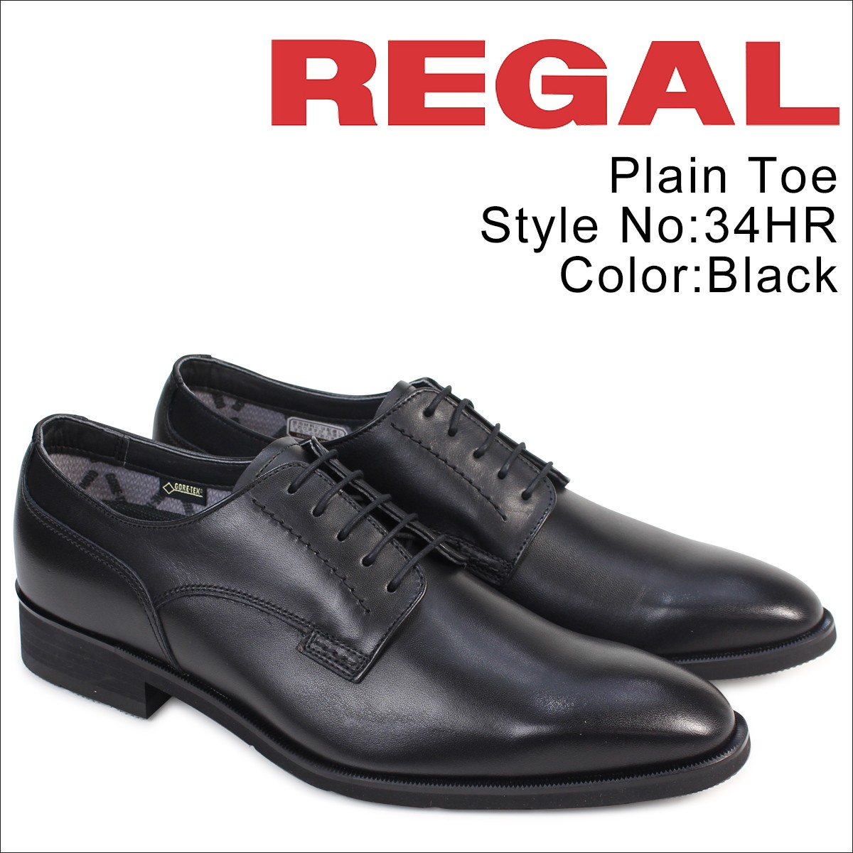 リーガル 靴 メンズ ビジネスシューズ REGAL プレーントゥ 34HR BB 防水 日本製 ブラック [5/9 追加入荷]
