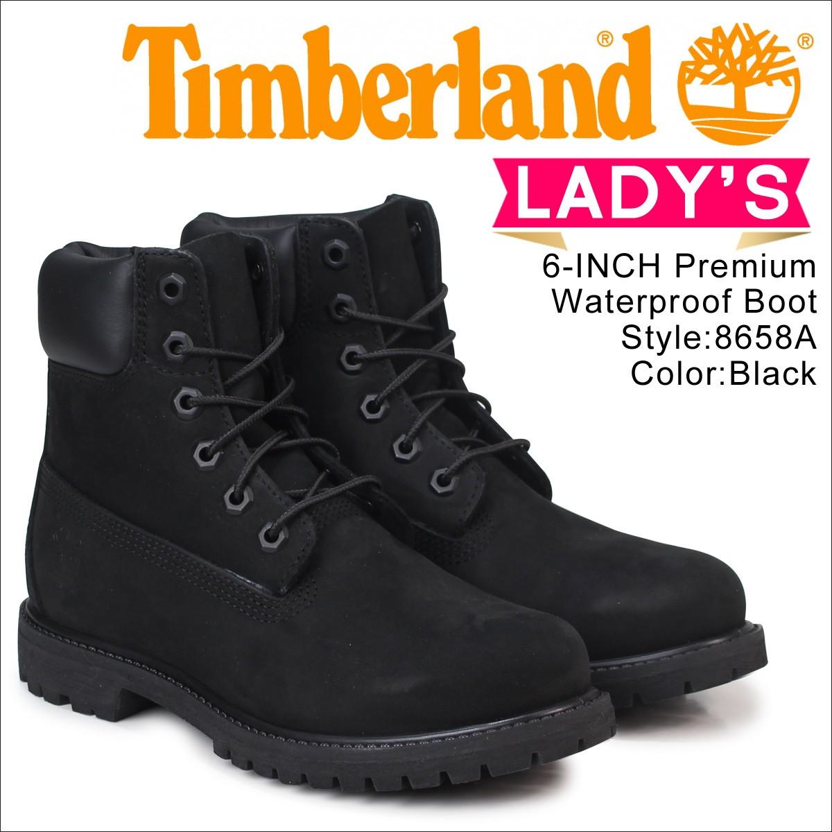 ティンバーランド レディース 6インチ Timberland ブーツ プレミアム WOMENS 6inch PREMIUM WATERPROOF BOOTS  8658A Wワイズ 防水 ブラック [7/7 追加入荷]