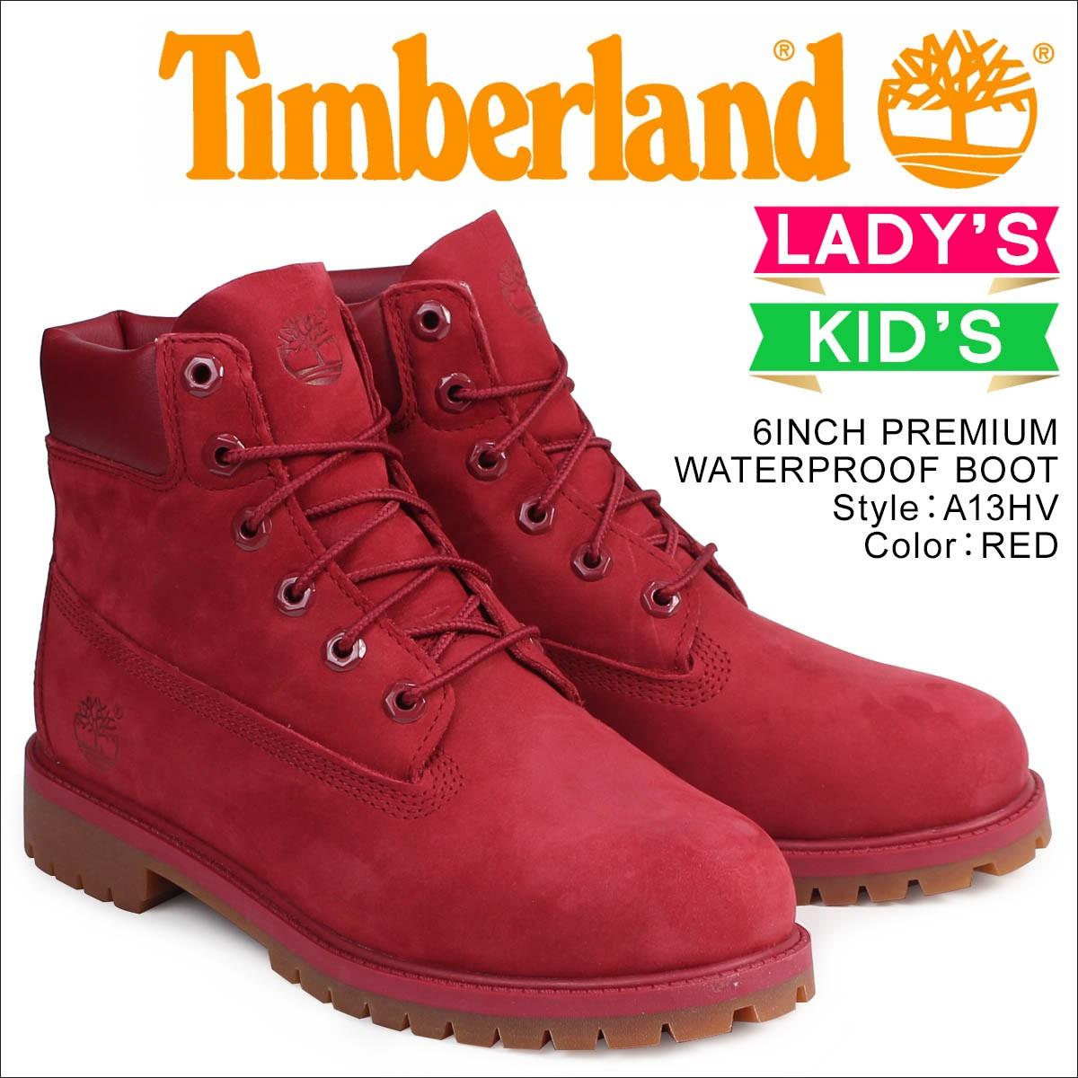 ティンバーランド レディース キッズ 6インチ Timberland ブーツ 6INCHI PREMIUM BOOTS  A13HV Wワイズ 防水 レッド [8/10 新入荷]