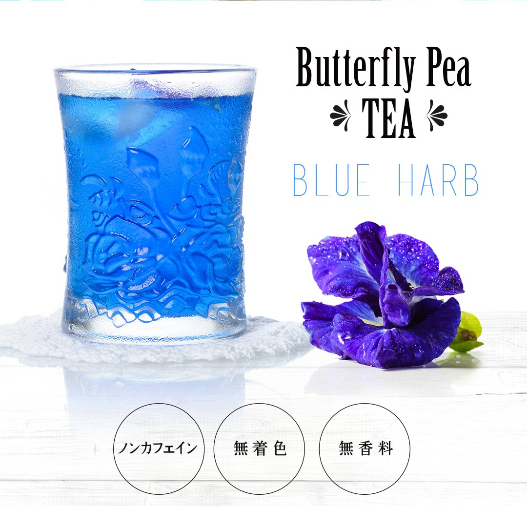「青いお茶」美を育む青いハーブティー「バタフライピー(蝶豆、チョウマメ)-Butterfly Pea TEA BLUE HARB-」