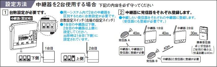 ワイヤレスコール 中継器 2台使用する場合の設定方法